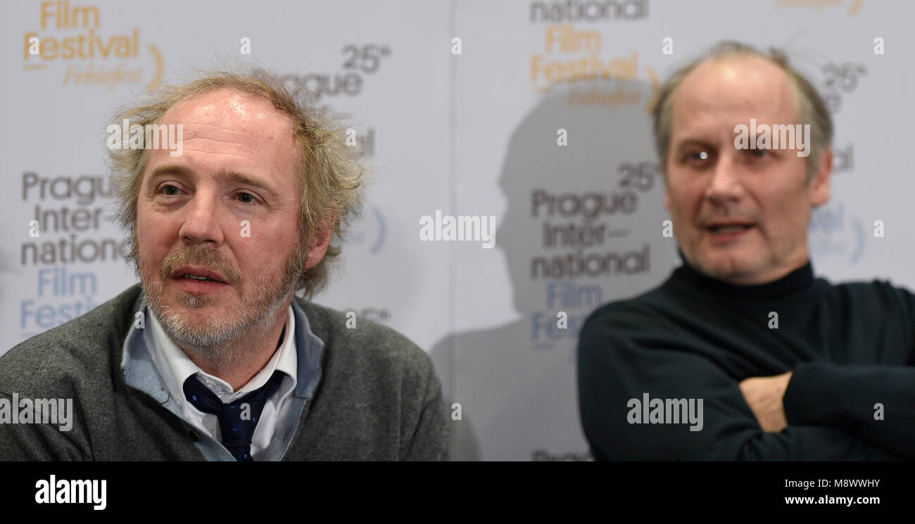 French director Arnaud Desplechin (left) and French actor Hippolyte Girardot  (right) speak during a press conference within the Febiofest international  film ...