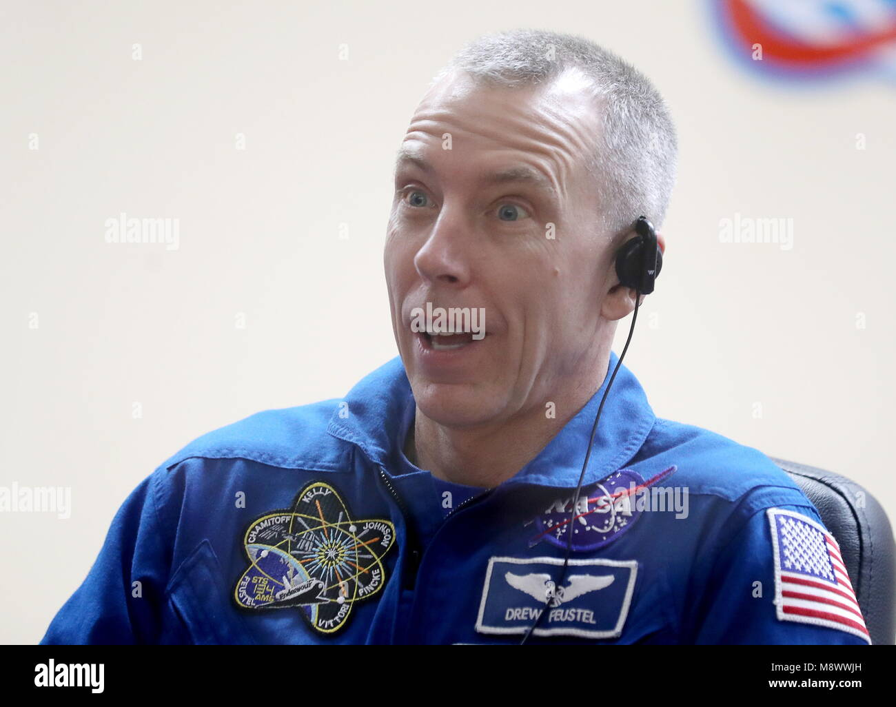 Baikonur, Kazakhstan. 20th Mar, 2018. BAIKONUR, KAZAKHSTAN - MARCH 20, 2018: NASA astronaut Andrew J. Feustel speaks - Stock Image