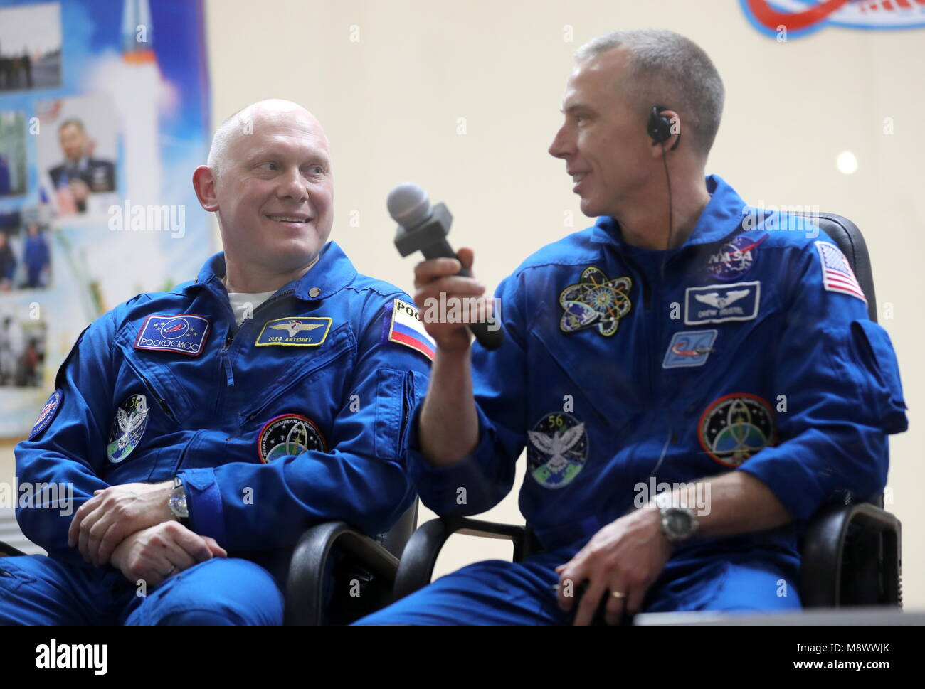 Baikonur, Kazakhstan. 20th Mar, 2018. BAIKONUR, KAZAKHSTAN - MARCH 20, 2018: ISS Expedition 55/56 prime crew members, - Stock Image