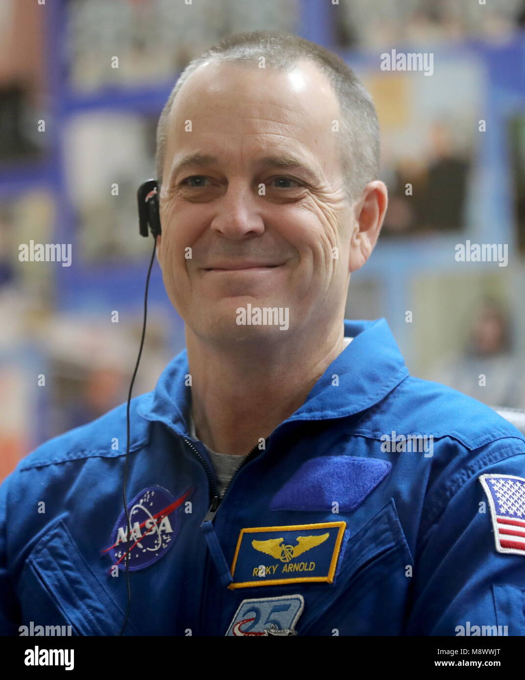 Baikonur, Kazakhstan. 20th Mar, 2018. BAIKONUR, KAZAKHSTAN - MARCH 20, 2018: NASA astronaut Richard Arnold smiles - Stock Image