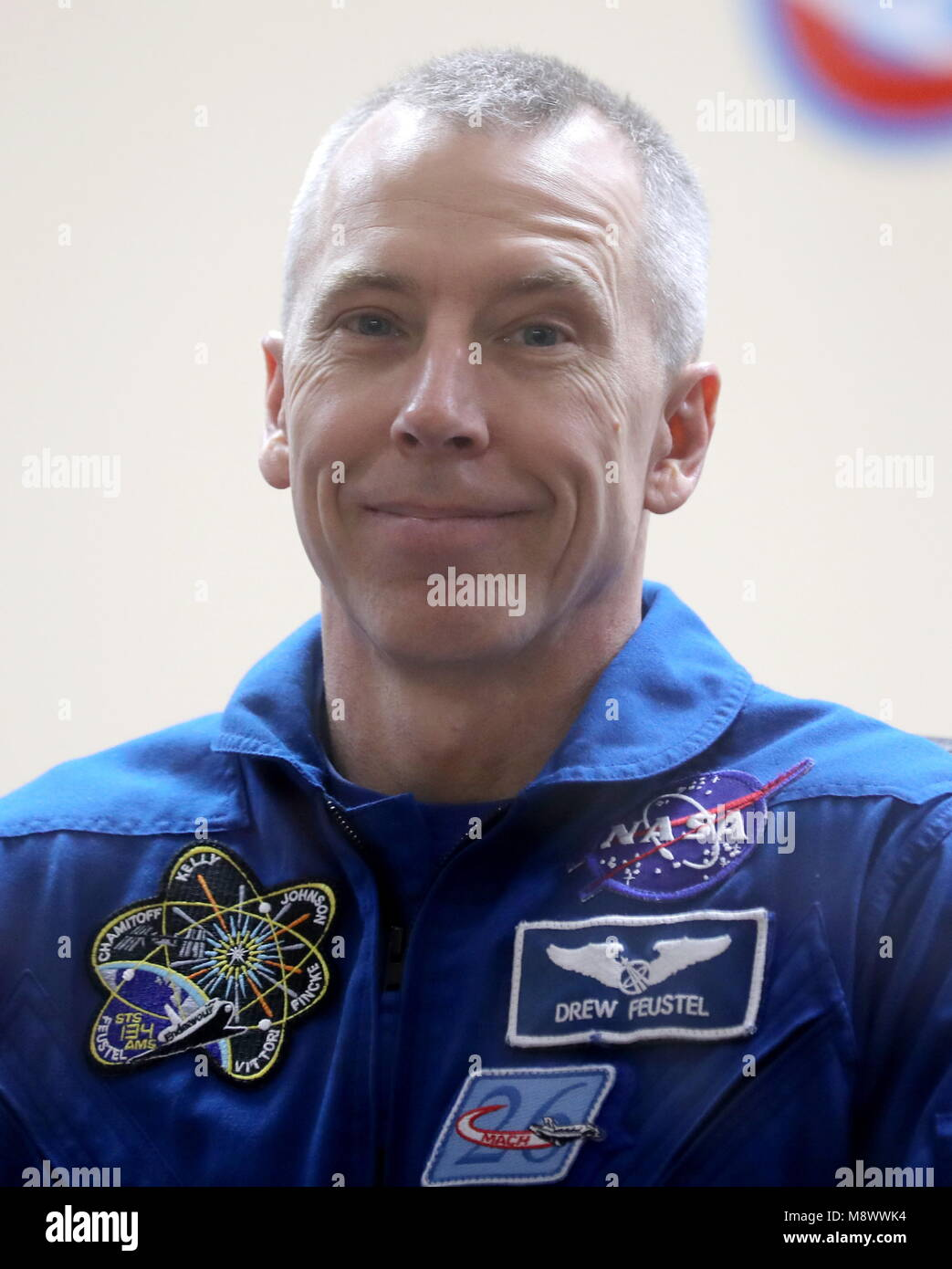 Baikonur, Kazakhstan. 20th Mar, 2018. BAIKONUR, KAZAKHSTAN - MARCH 20, 2018: NASA astronaut Andrew J. Feustel smiles - Stock Image