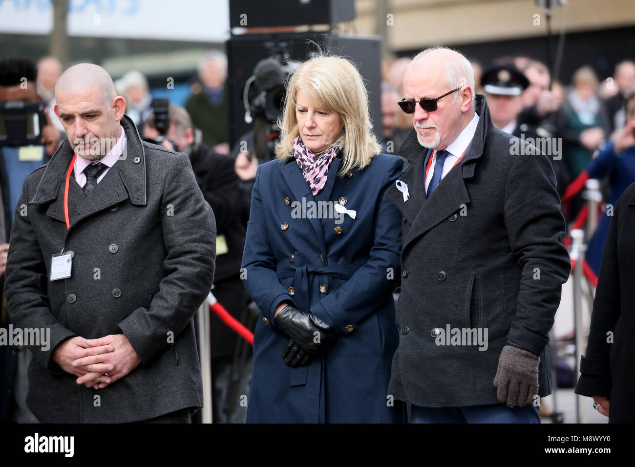 Warrington, UK. 20th Mar, 2018. 25th anniversary memorial of the IRA bomb which killed Jonathan Ball and Tim Parry - Stock Image