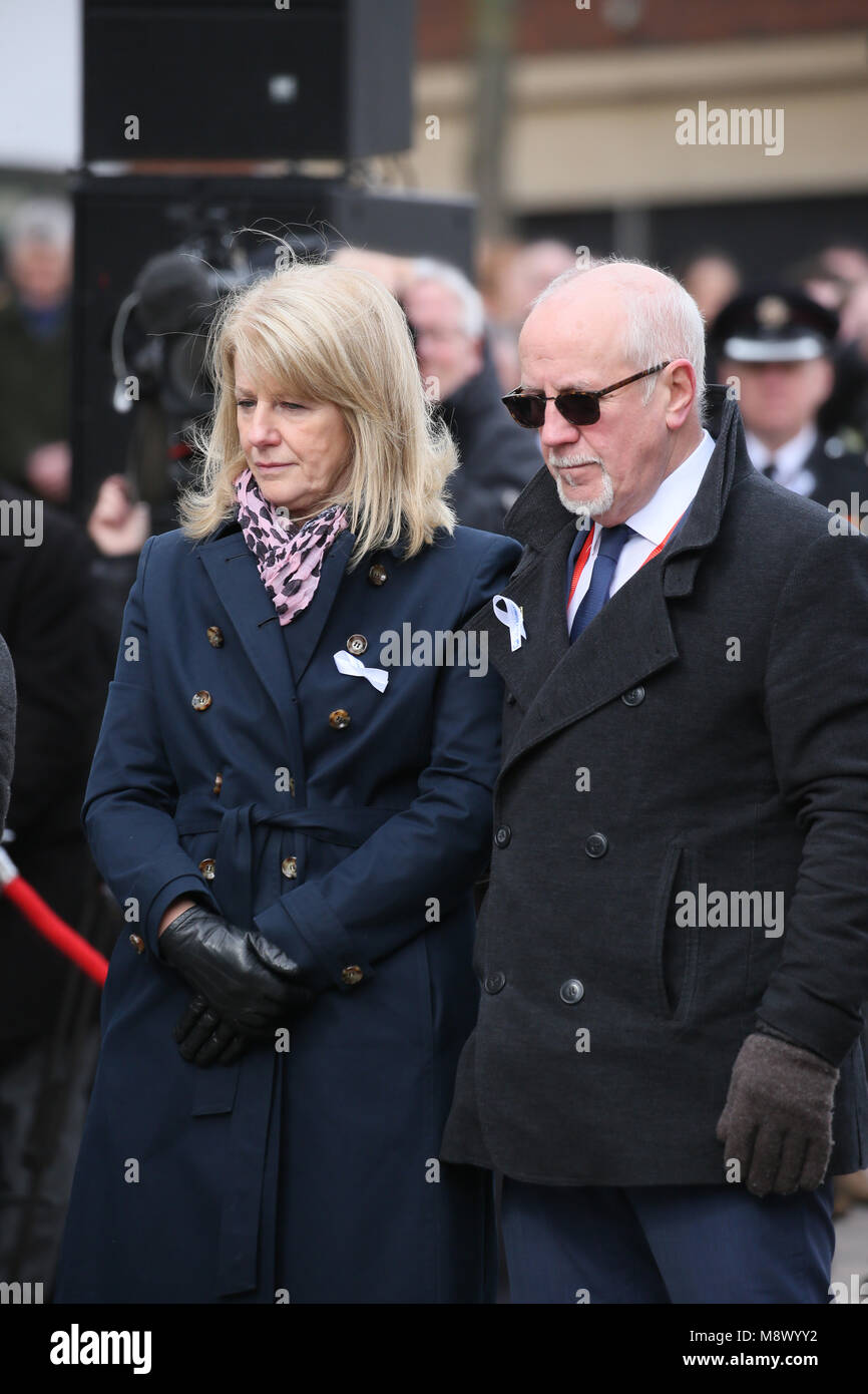 Warrington, UK. 20th Mar, 2018. Colin and Wendy Parry at anniversary memorial of the IRA bomb which killed Jonathan - Stock Image