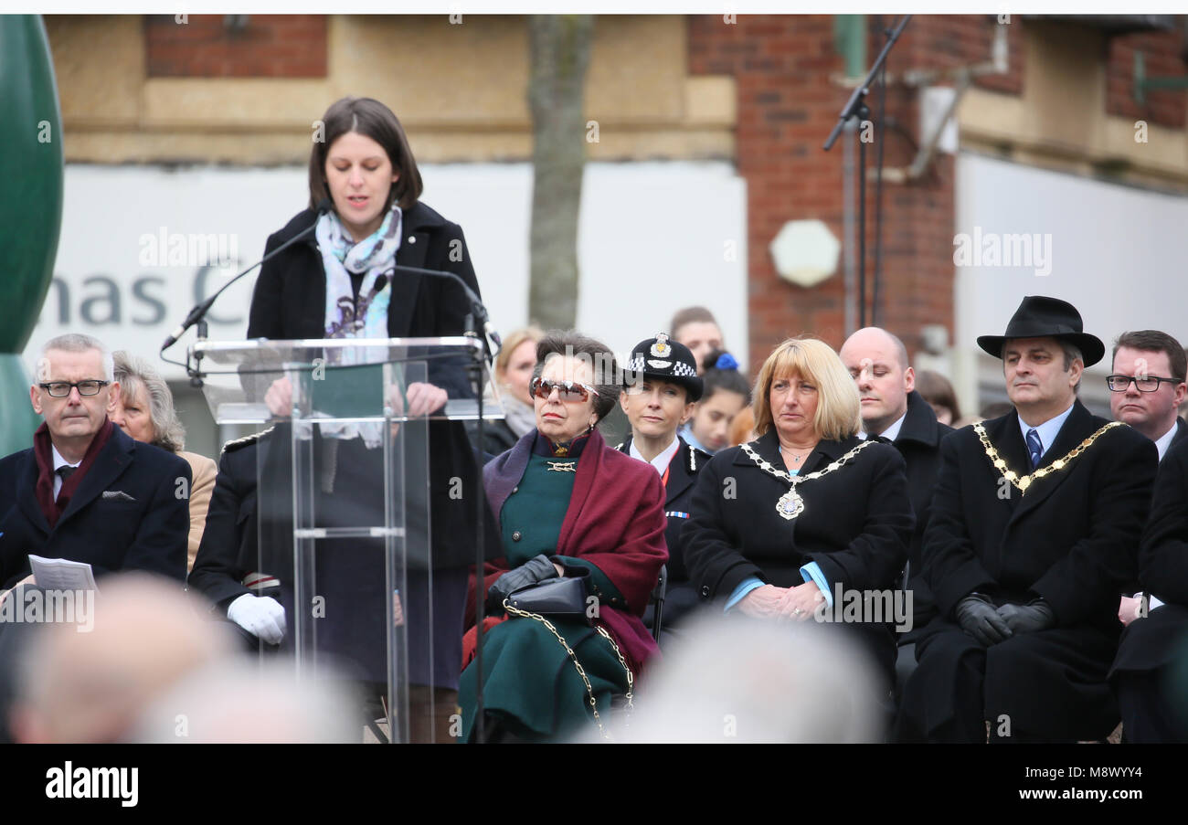 Warrington, UK. 20th Mar, 2018. Princess Anne attends 25 anniversary memorial of the IRA bomb which killed Jonathan - Stock Image