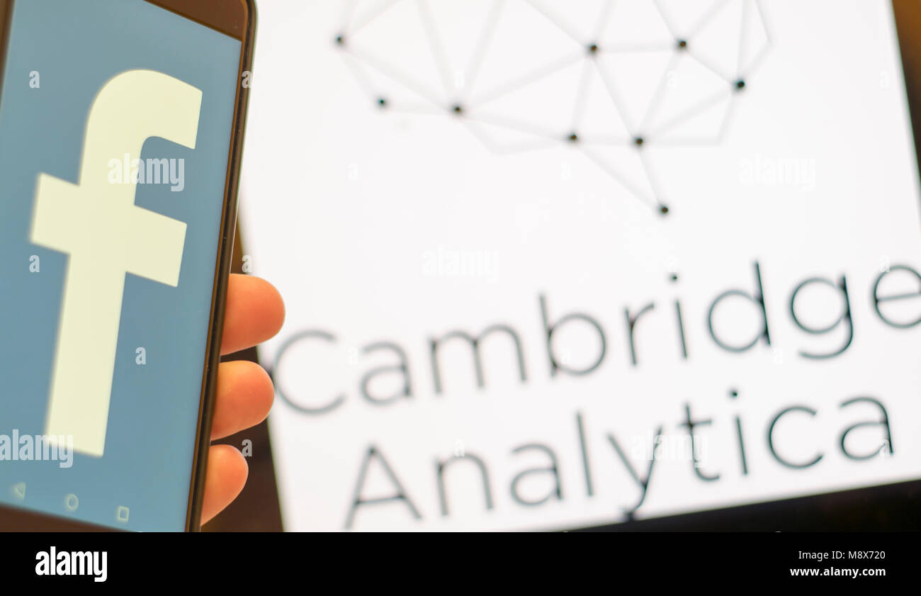 Edinburgh, UK. 20thMarch 2018. The logos of Facebook and Cambridge Analytica are seen together as the data breach - Stock Image