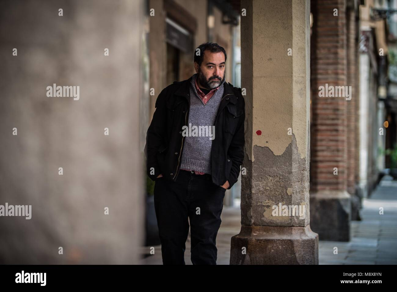 Chilean writer Rafael Gumucio poses during an interview in Barcelona, Spain, during the presentation of his last - Stock Image