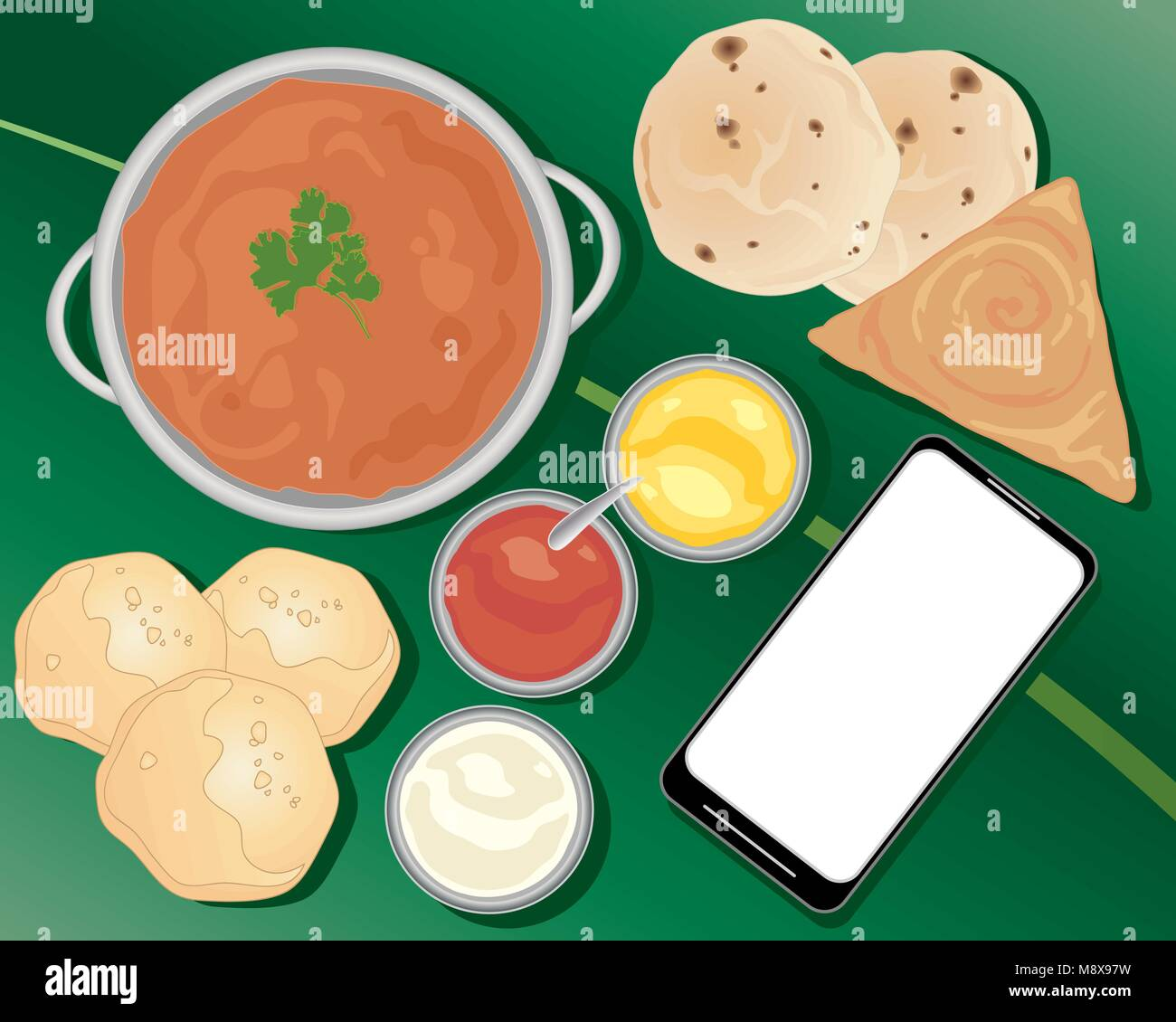 a vector illustration in eps 10 format of an Indian meal ordered from a smart phone with curry chapatti poori and - Stock Vector