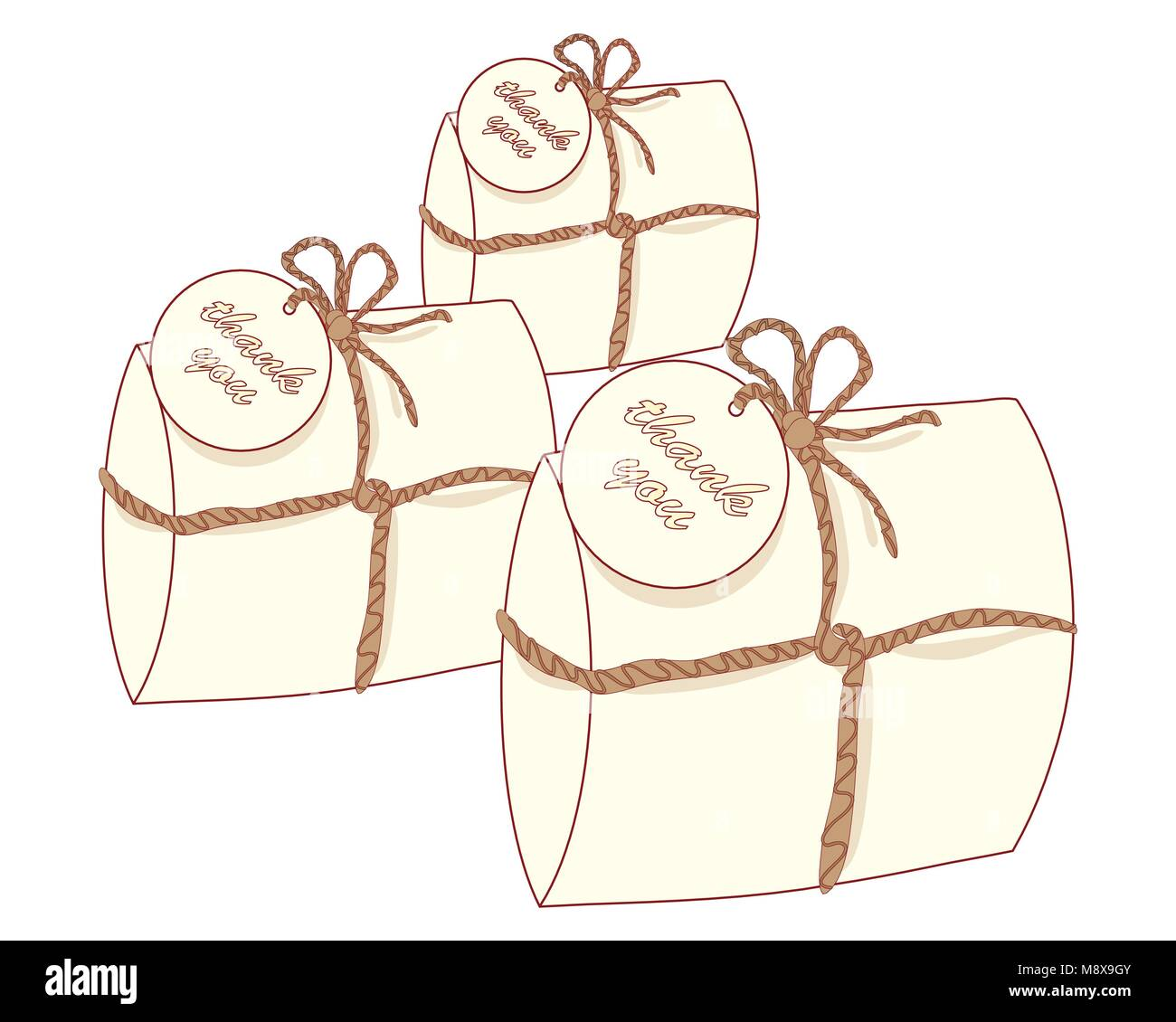 a vector illustration in eps 8 format of three small decorative gift packages known as wedding favors containing - Stock Vector