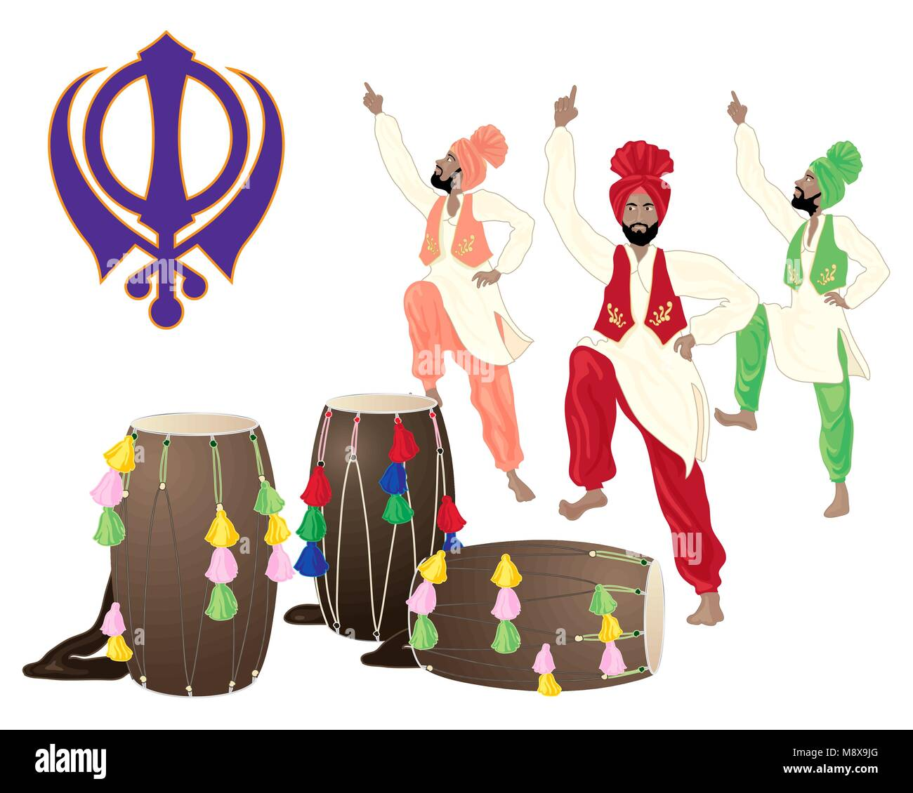 a vector illustration in eps 10 format of a Punjabi drums male dancers and the Sikh symbol on a white background - Stock Vector