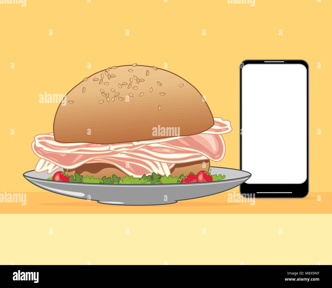 a vector illustration in eps 10 format of a delicious bacon and salad sandwich made from a sesame seed bun ordered - Stock Vector