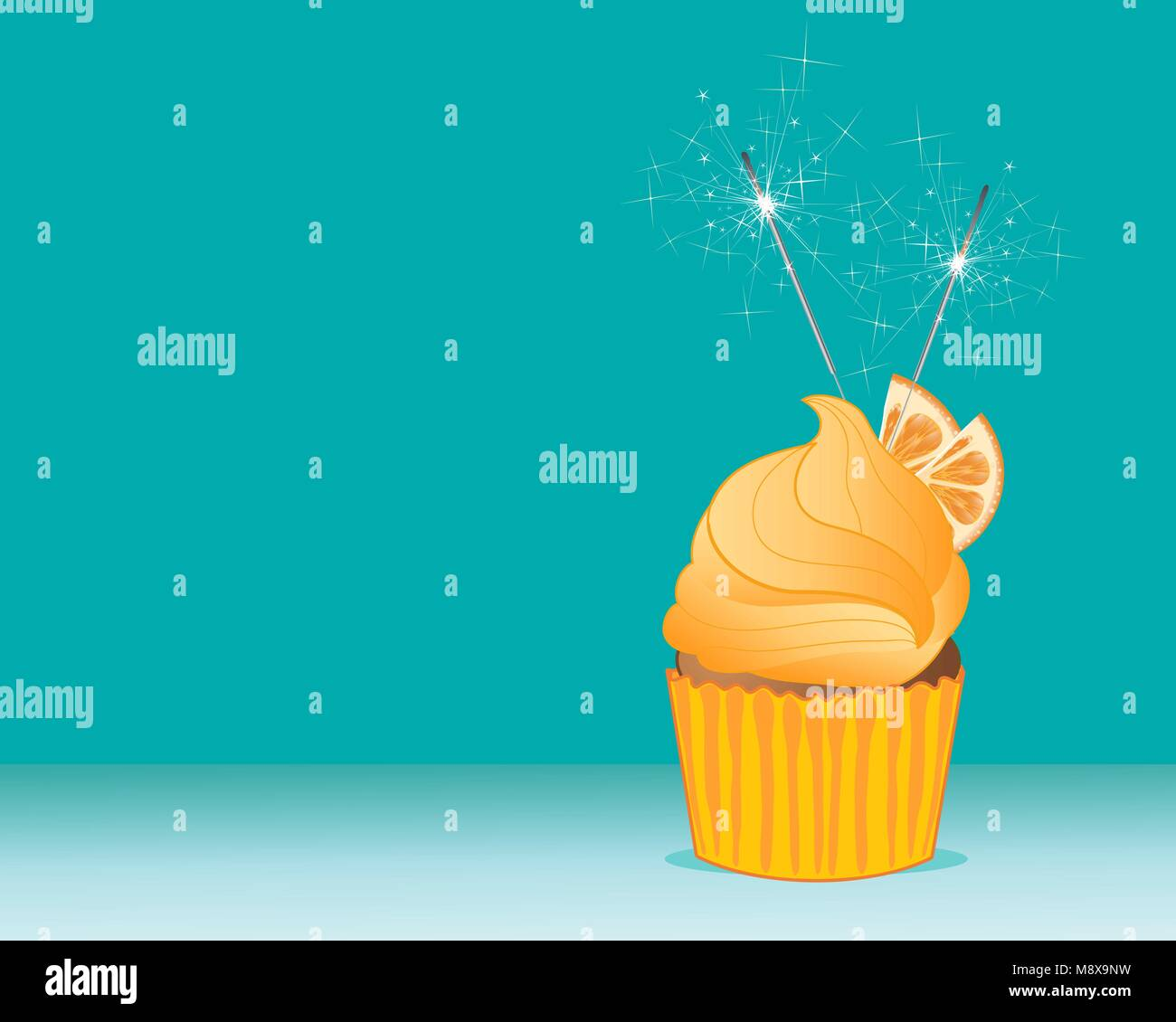 a vector illustration in eps 10 format of a bright orange cupcake with fruit decoration and sparklers on a turquoise - Stock Vector