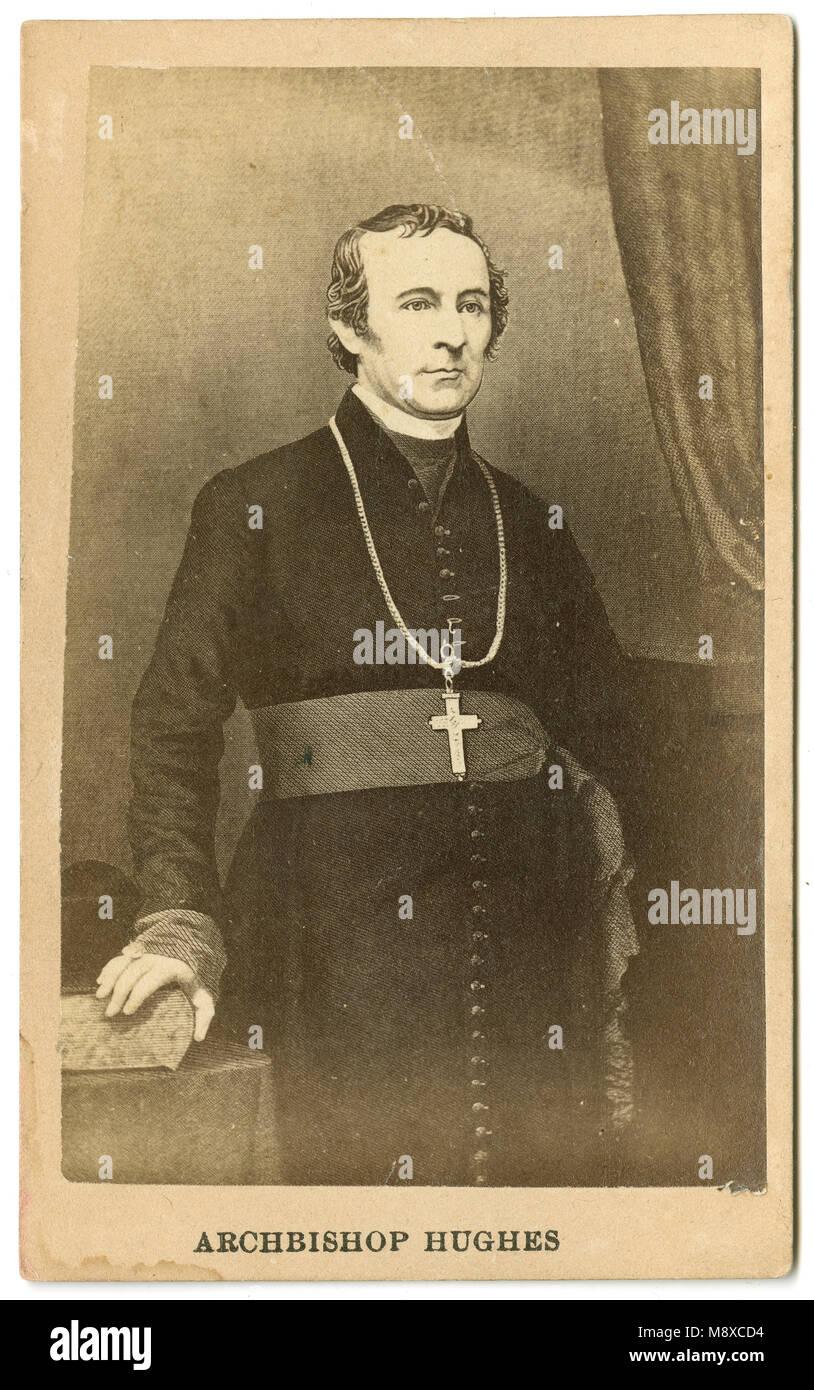 Antique c1860 carte de visite, Archbishop Hughes. John Joseph Hughes (1797-1864) was an Irish-born prelate of the - Stock Image