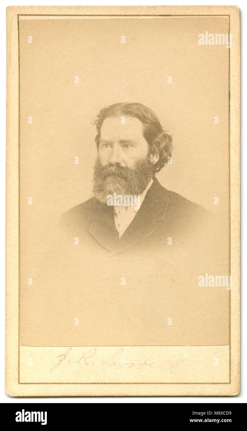 Antique C1860 Carte De Visite James Russell Lowell 1819 1891 Was An American Romantic Poet Critic Editor And Diplomat