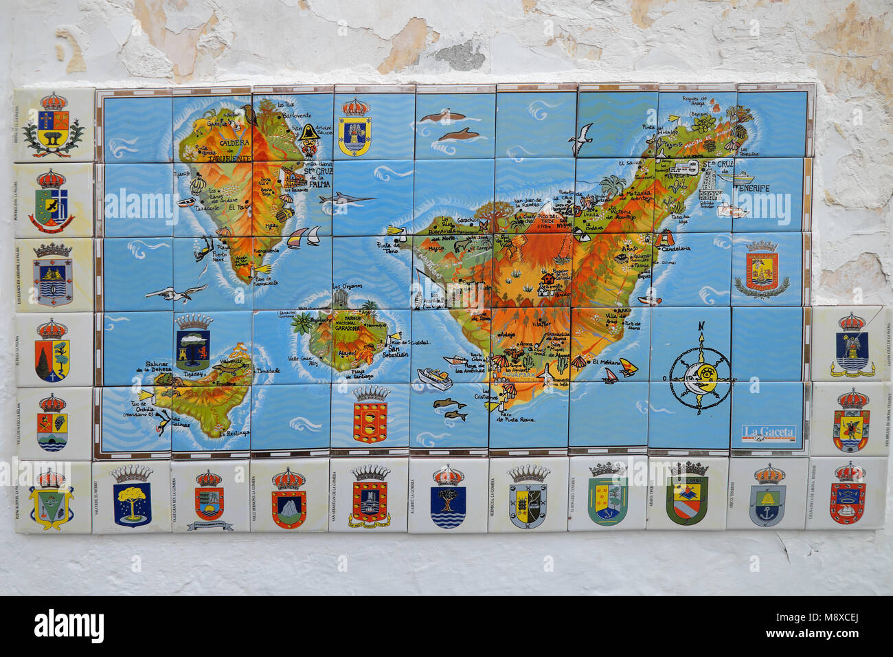 Map Of Spain Tenerife.A Map Tenerife Made From Tiles In The Canary Islands Of Spain Stock
