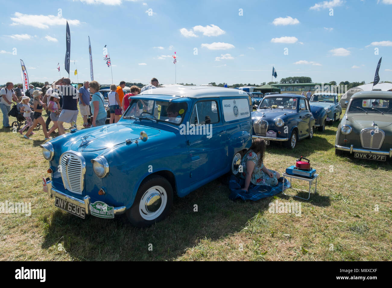 Blue and white RAC Road Services 1950s Austin van at the Austin A30 and A35 Owners Club at the Gloucestershire Vintage Stock Photo