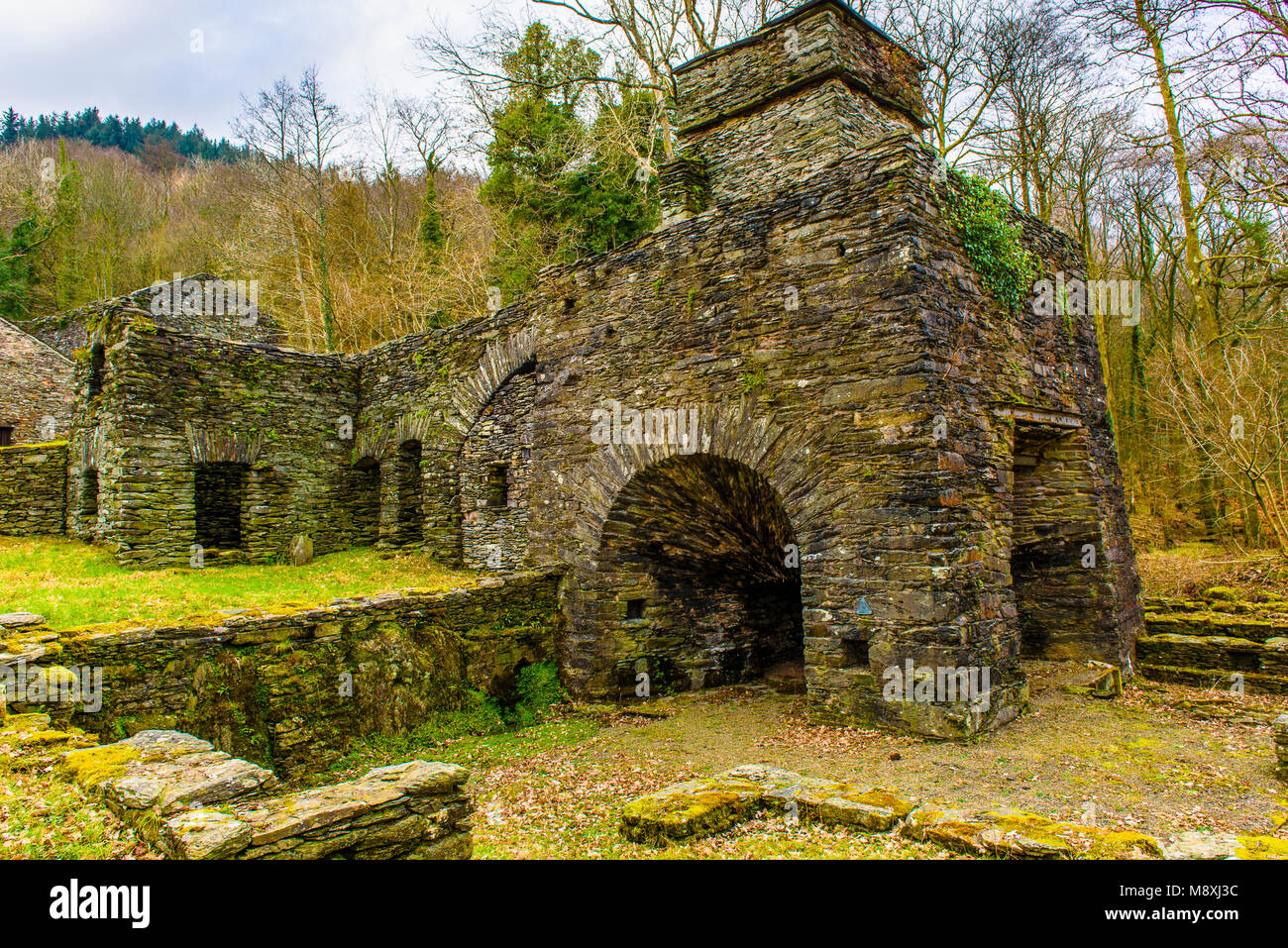 Remains of Duddon Iron Furnace in the southwest corner of the Lake District - Stock Image