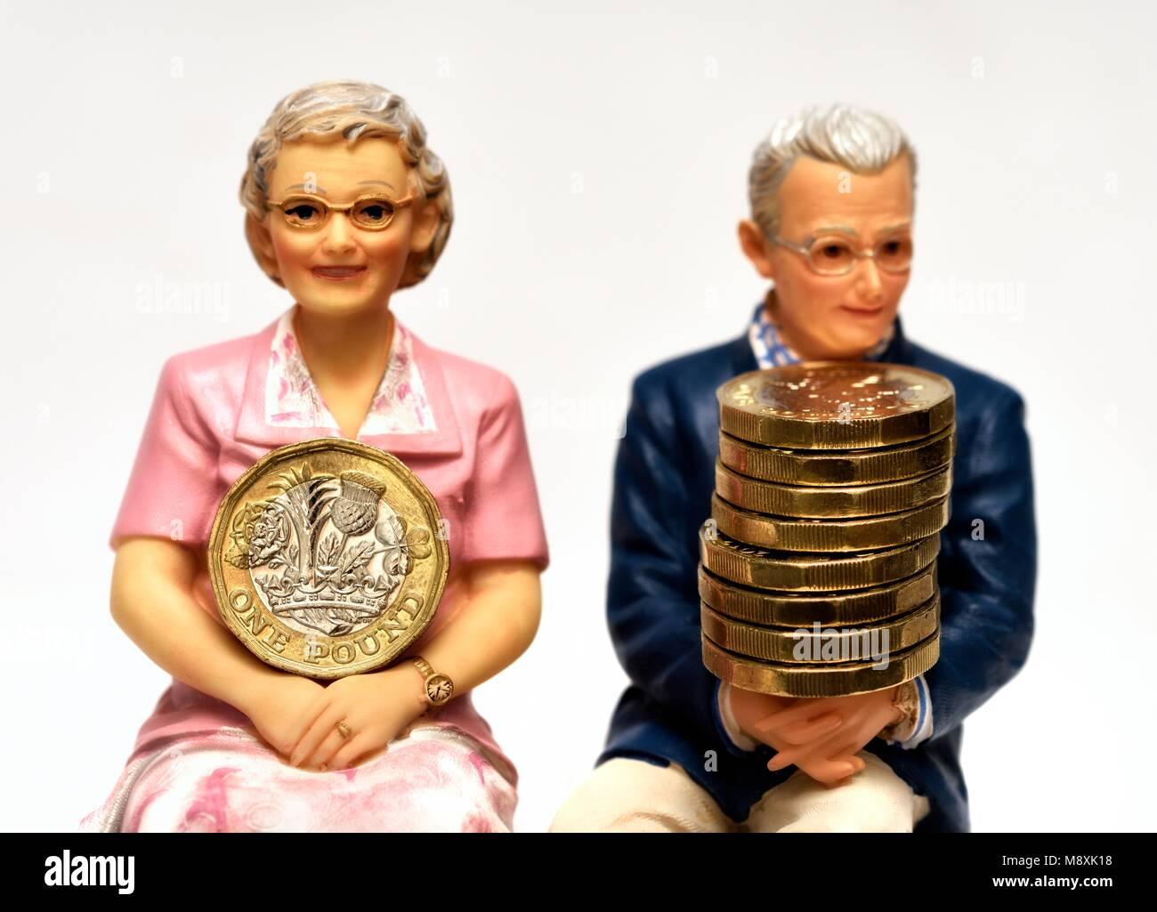 Pension retirement income concept - Stock Image