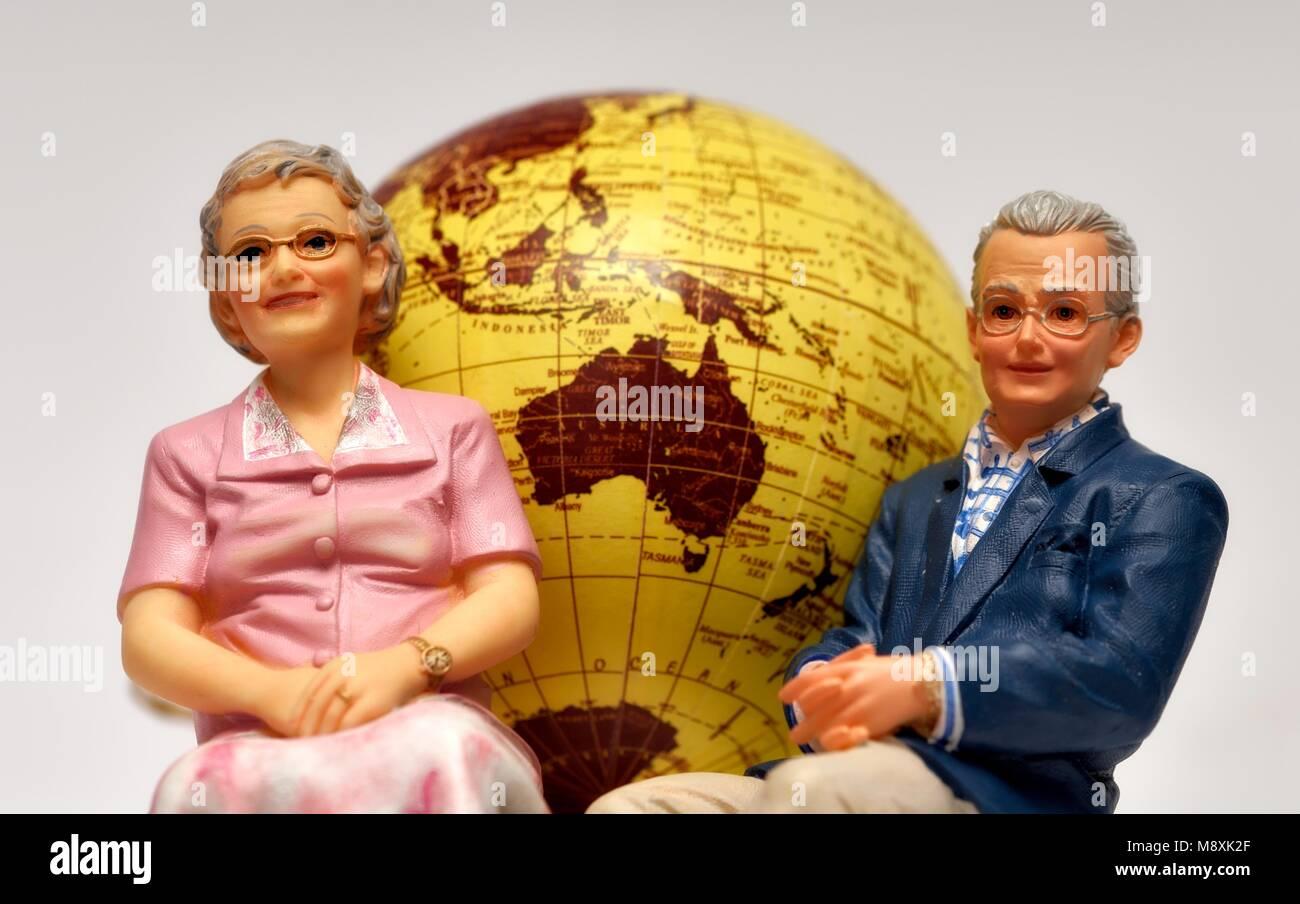 Emigrate emigration pensioners concept - Stock Image