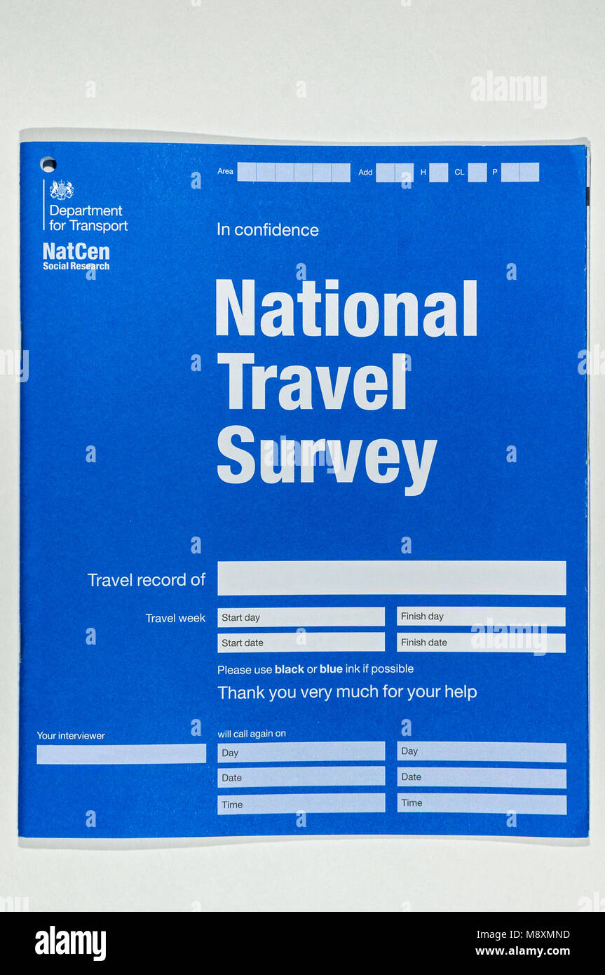 NatCen Social Research, UK Department for Transport, National Travel Survey form. - Stock Image