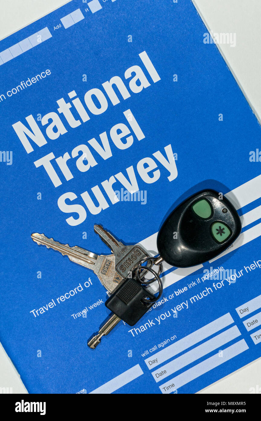 NatCen Social Research, UK Department for Transport, National Travel Survey form.  With car keys and key fob on - Stock Image