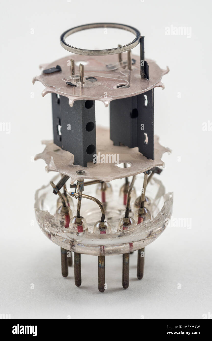 Internal view of a vintage thermionic radio valve with the glass removed. - Stock Image