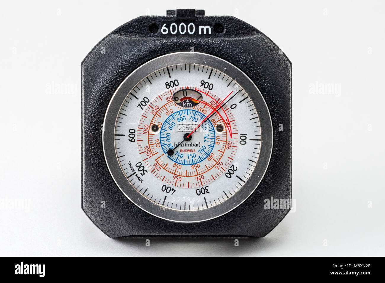 A Swiss made Thommen precision mechanical analogue altimeter.  Calibrated to 6000 metres. - Stock Image