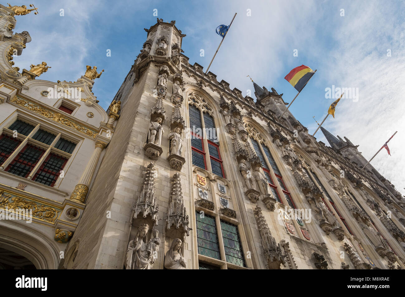 Looking up at the City Hall in Bruges, Belgium. Stock Photo