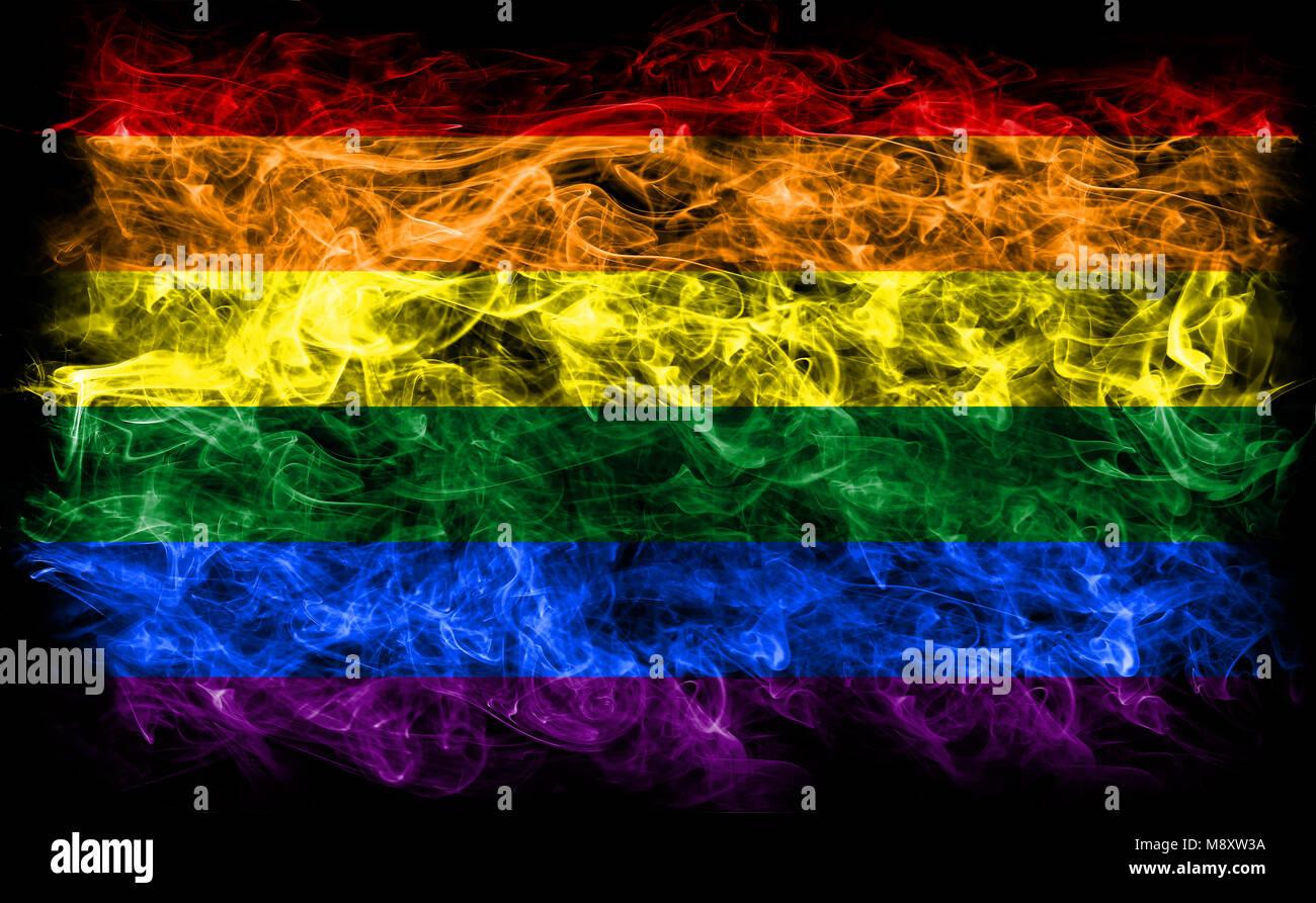 Gay smoke flag, LGBT pride flag Stock Photo