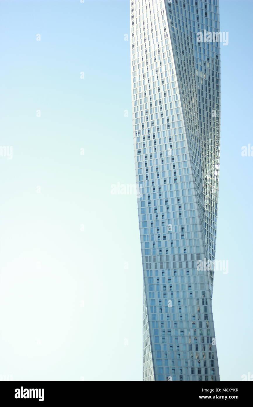 Cayan Tower skyscraper in Dubai Marina, UAE - Stock Image