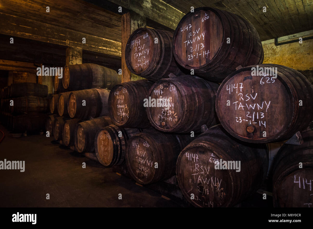 Port wine barrels in cellar, Vila Nova de Gaia, Porto, Portugal - Stock Image