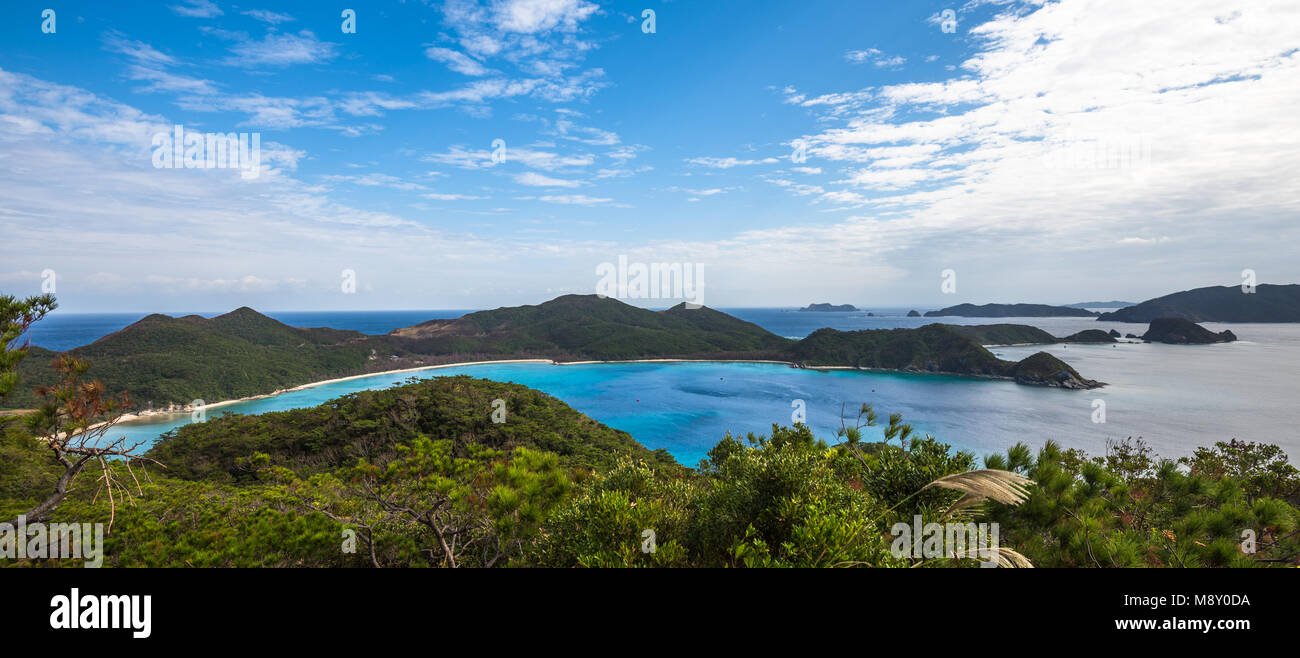 Panoramic view of Zamami island, Okinawa, Japan - Stock Image