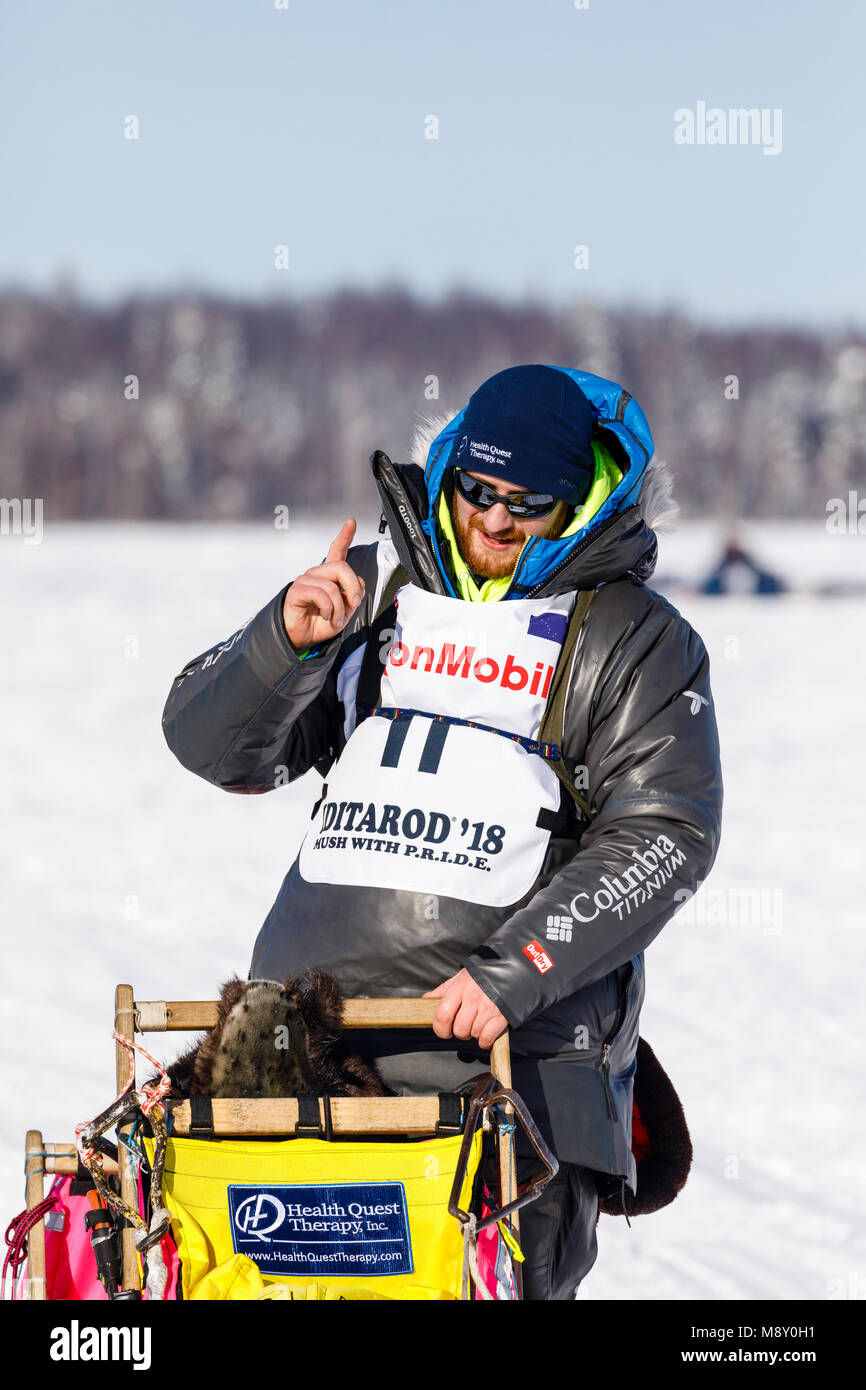 Musher Wade Marrs after the restart in Willow of the 46th Iditarod Trail Sled Dog Race in Southcentral Alaska. - Stock Image