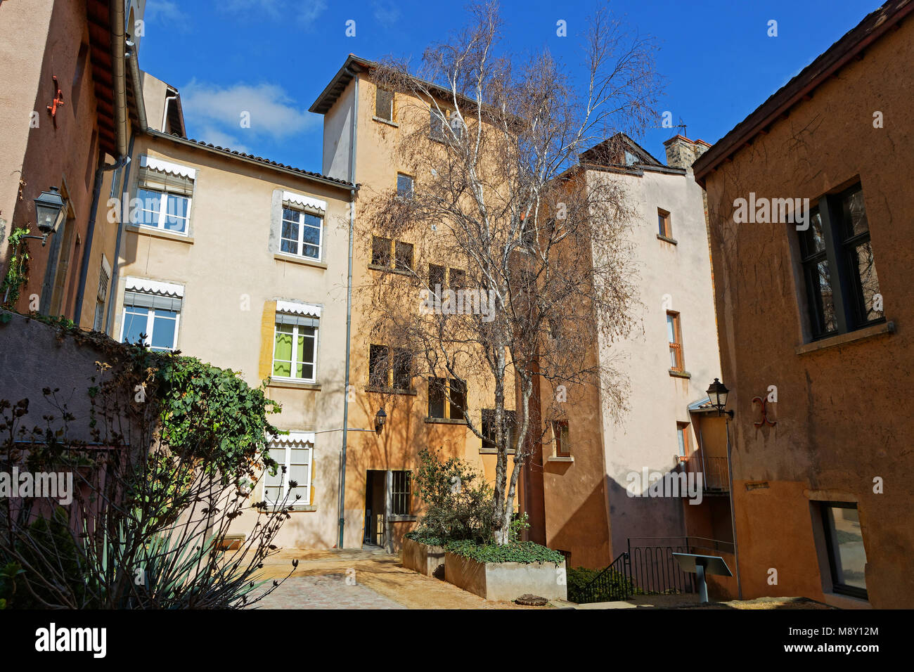 LYON, FRANCE, March 19, 2018 : A traboule in historic center of Lyon. Traboules are a type of passageway originally - Stock Image