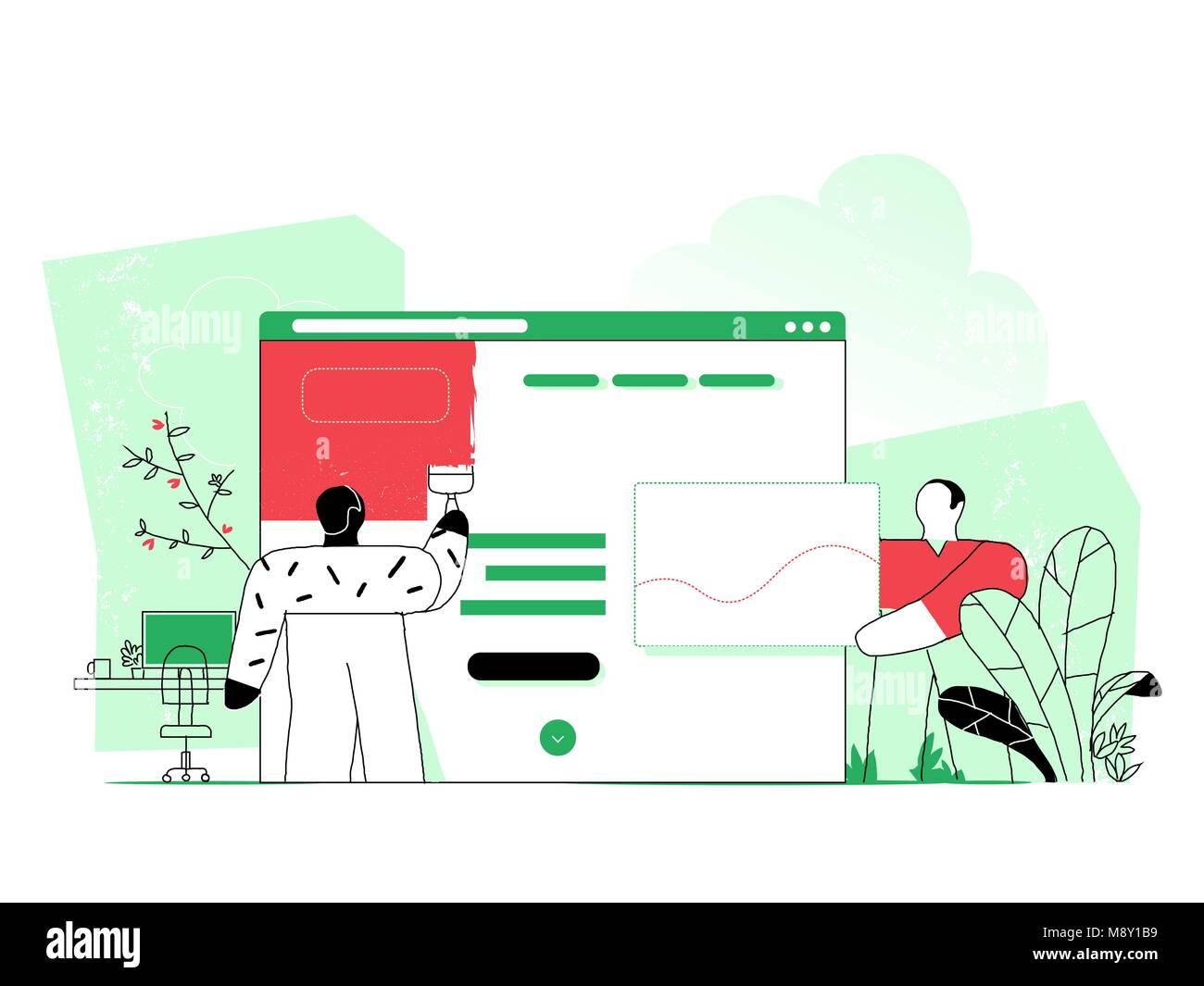 Web designer planning visual design for web project - Stock Image