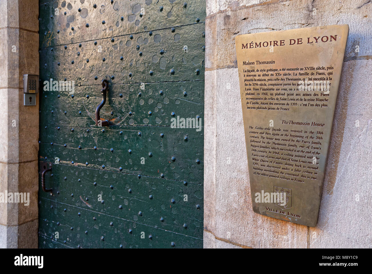 LYON, FRANCE, March 11, 2018 : Traboule information. Traboules (from Latin transambulare meaning 'to cross') - Stock Image