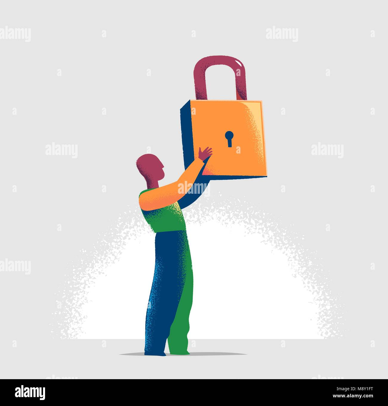 Torso of a manager is locking one virtual lock in a lineup of open padlocks. Business metaphor and technology concept - Stock Vector
