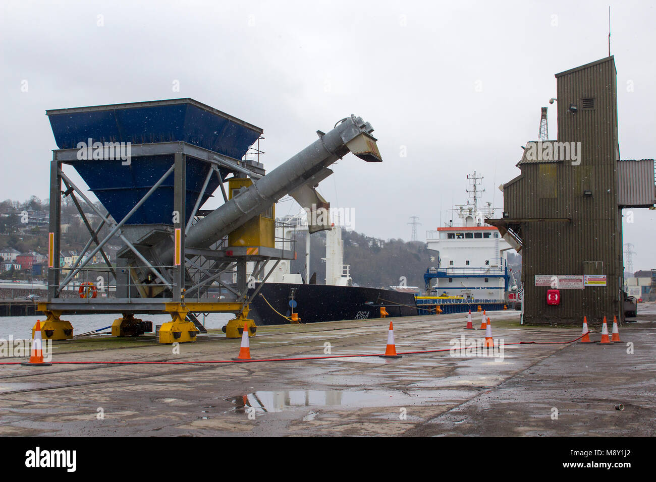18 March 2018 City of Cork Ireland The general cargo ship Riga registered in Malta is ready for sailing having discharged - Stock Image