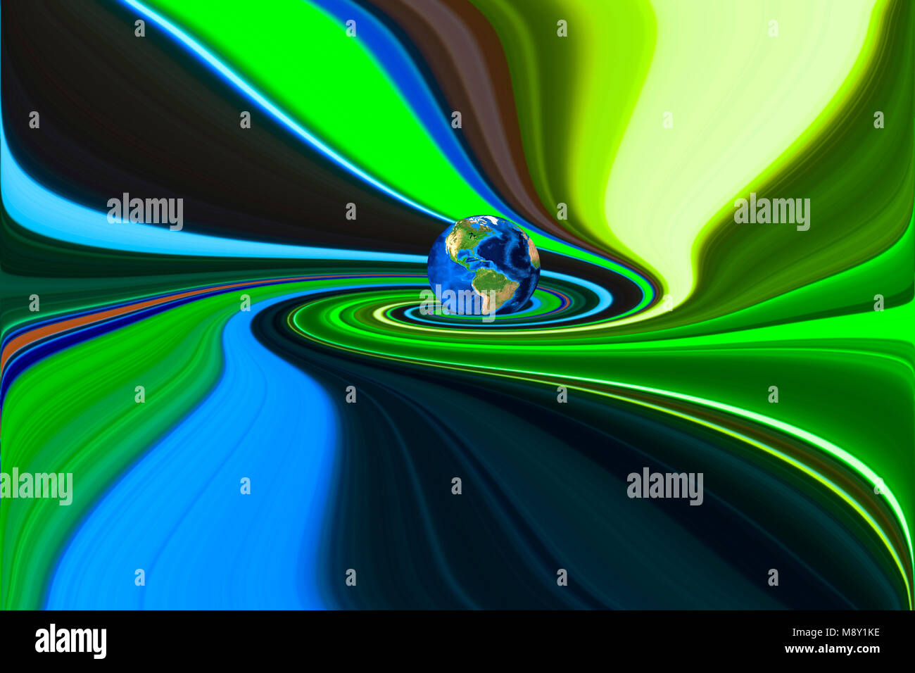 Planet Earth in swirling colorful background Stock Photo