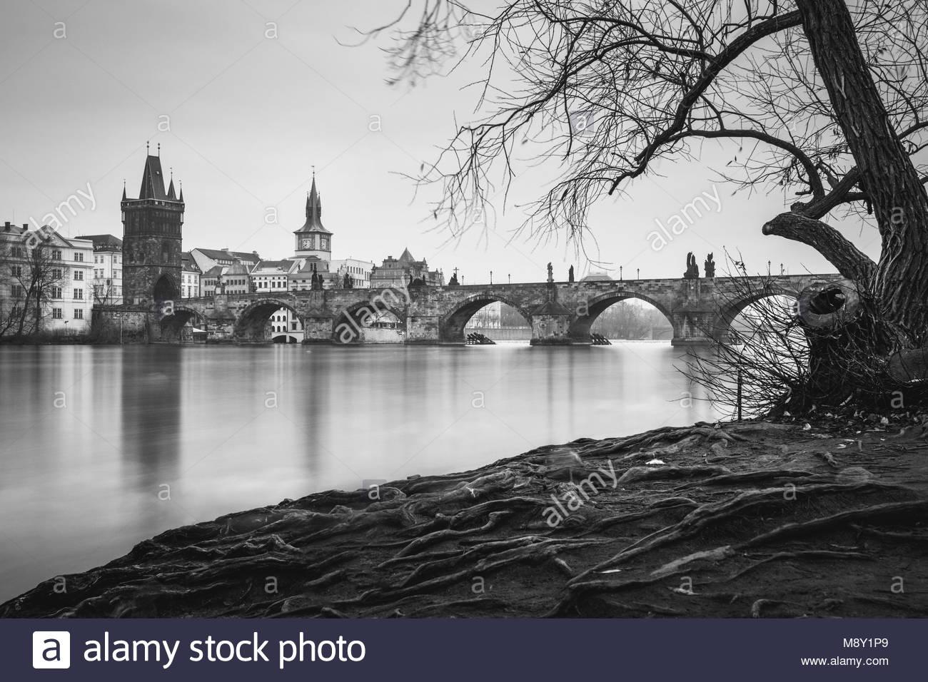 Winter morning view on Charles Bridge, Prague, Czech Republic - Stock Image