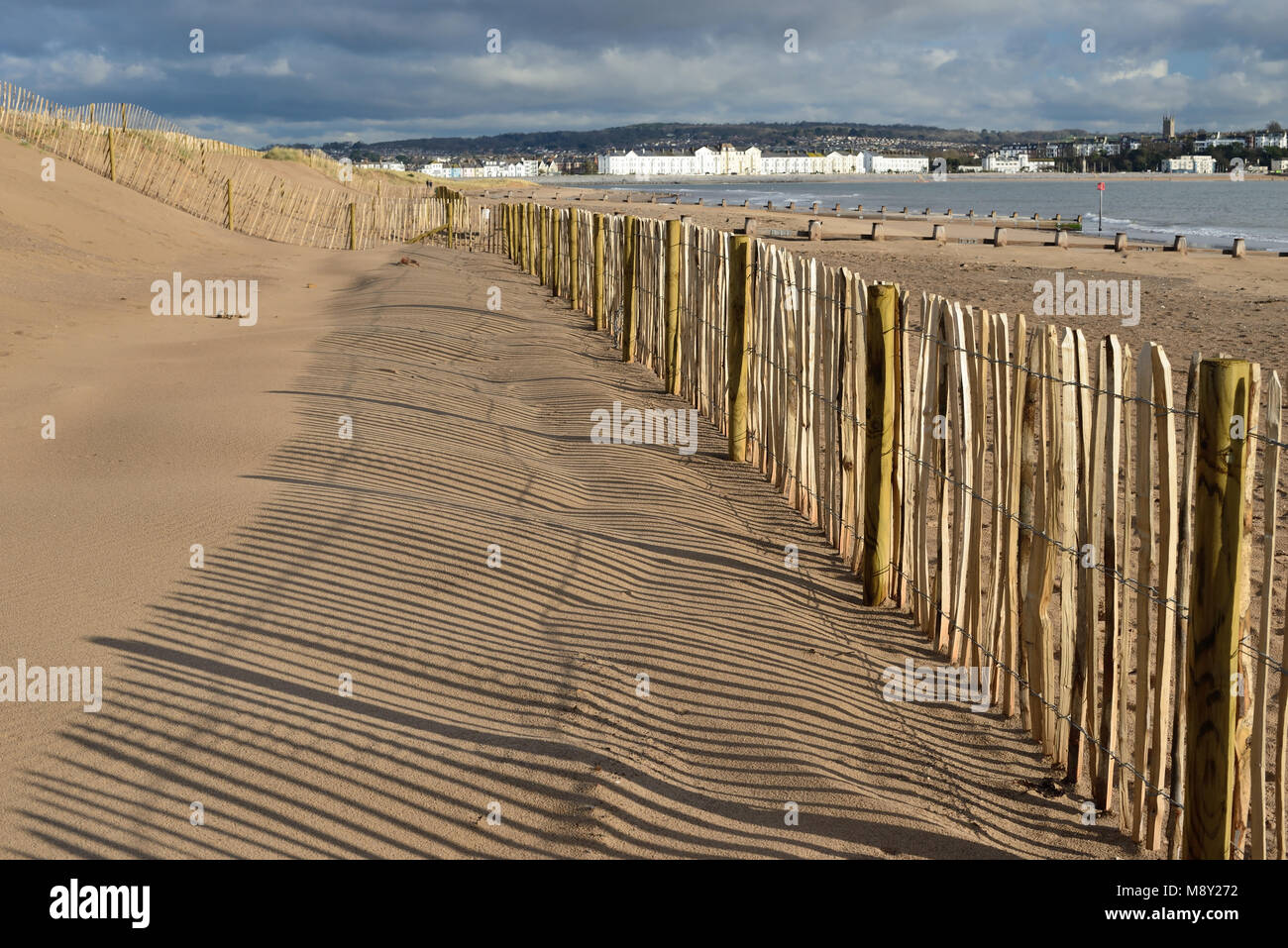 Fencing on sand dunes at Dawlish Warren nature reserve (looking towards Exmouth). - Stock Image