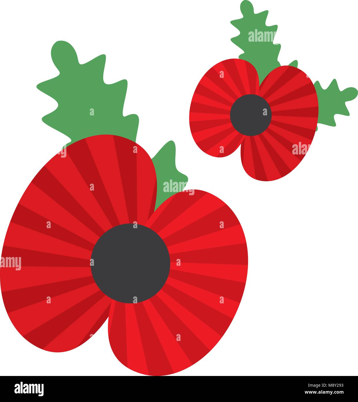 Poppy, symbol of the anniversary of the world war - Stock Vector