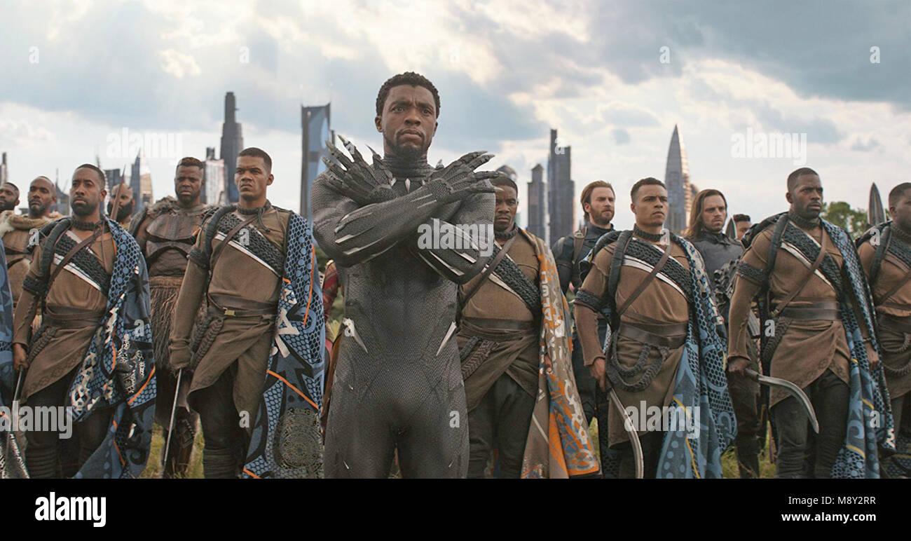 AVENGERS; INFINITY WAR  2018 Marvel Studios film with Chadwick Boseman - Stock Image