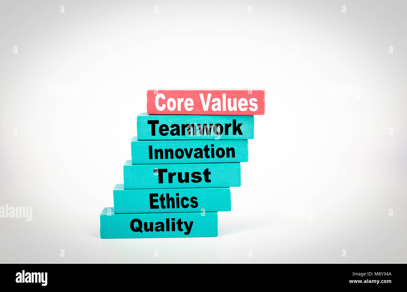 Core Values. Business Concept With Colorful Wooden Blocks - Stock Image
