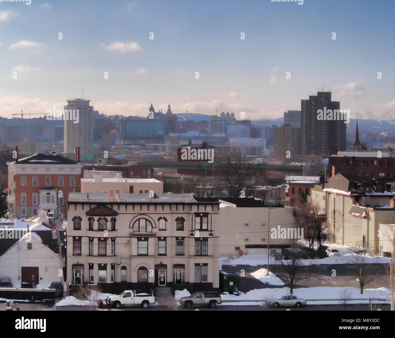 Syracuse, New York, USA. March 17, 2018. View of Willow Street on the northside of Syracuse, NY with the Syracuse - Stock Image