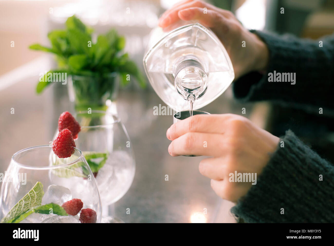 Gin and tonic drinks being prepared. Stock Photo