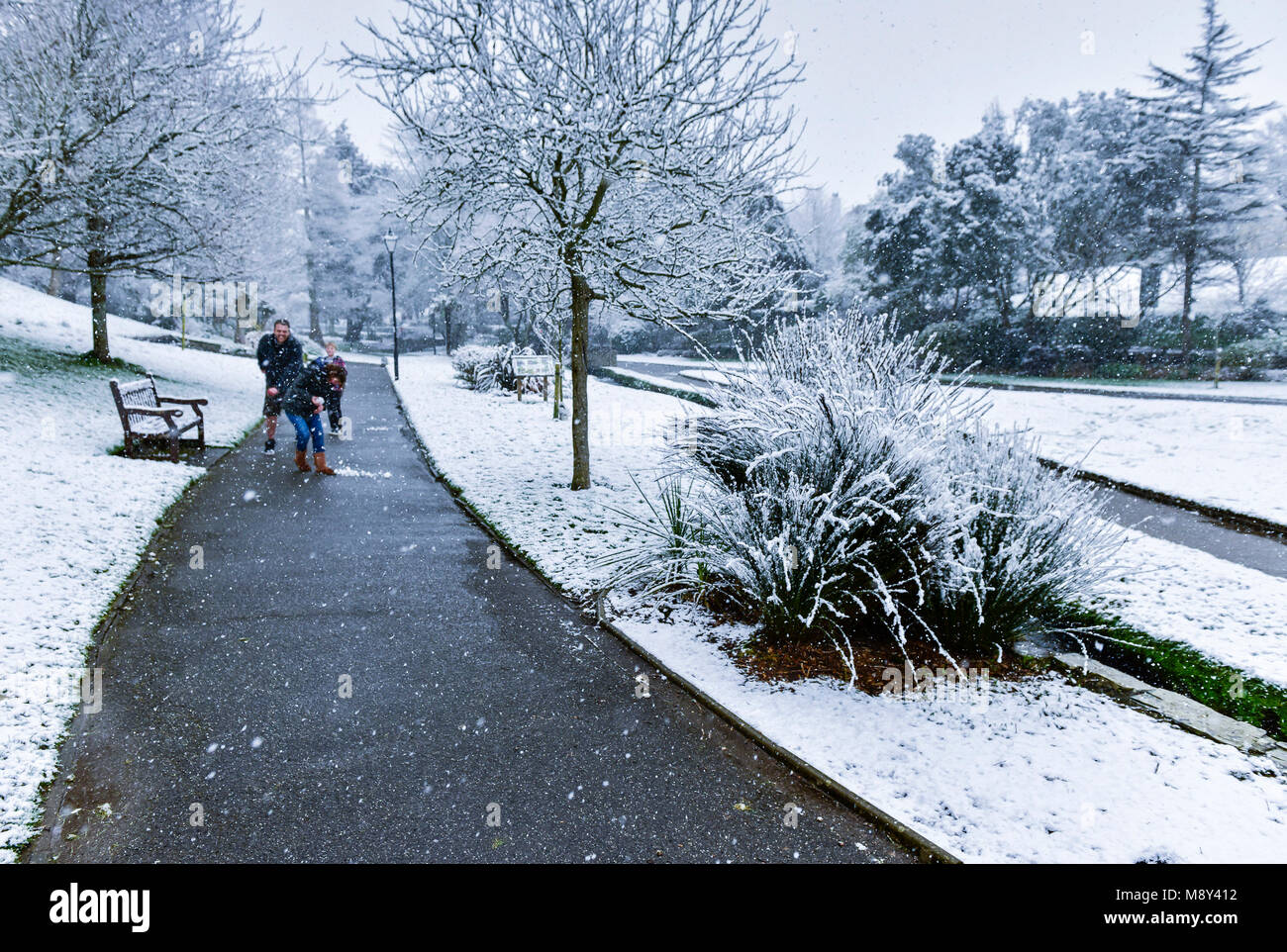 A family enjoying the snow in Trenance Gardens in Newquay Cornwall. - Stock Image