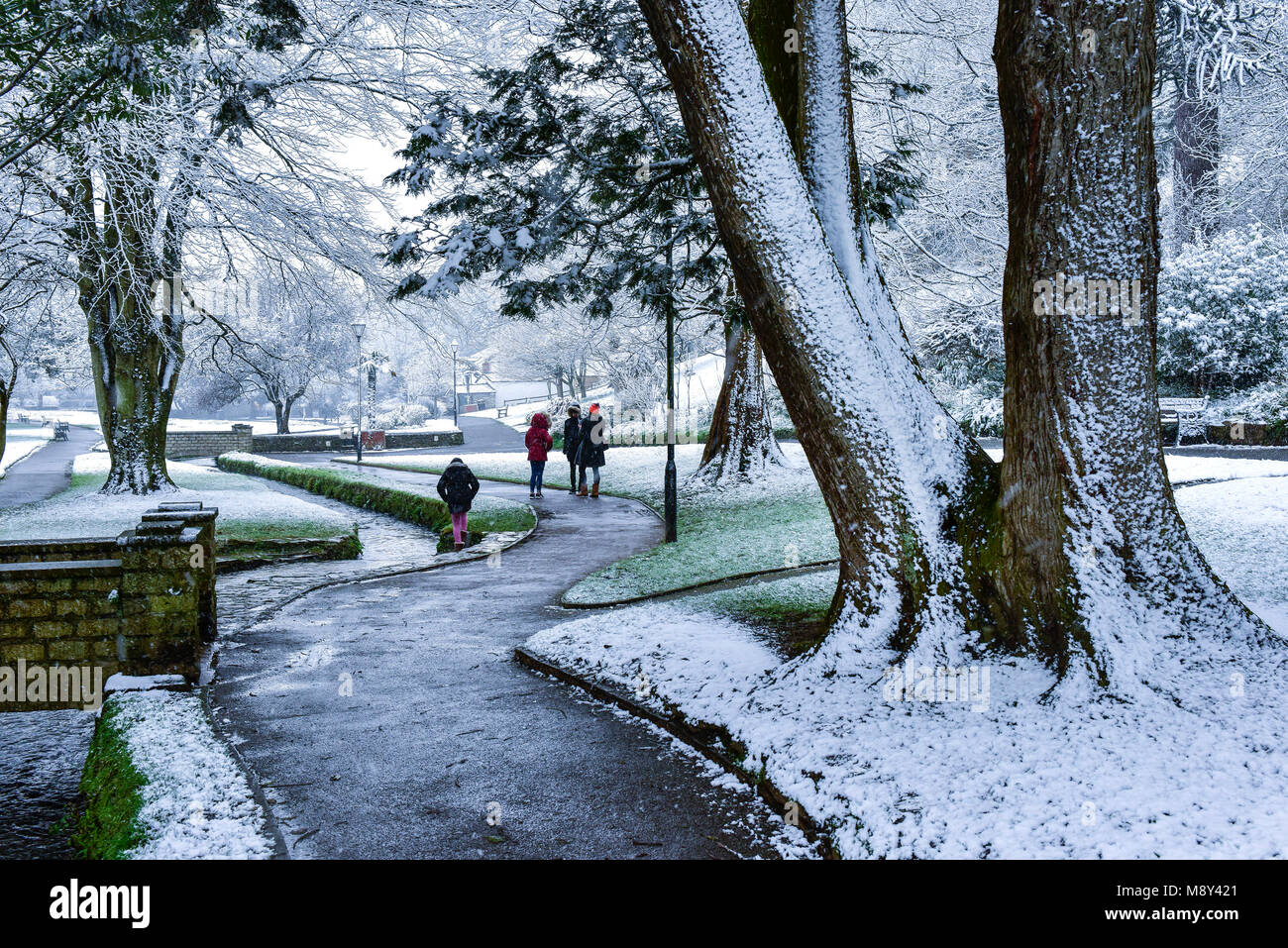 Snow fall on Trenance Gardens in Newquay Cornwall. - Stock Image