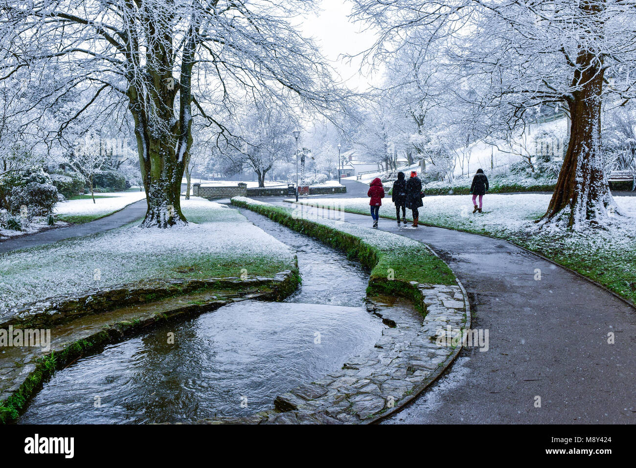 Snowfall in Trenance Gardens in Newquay Cornwall. - Stock Image