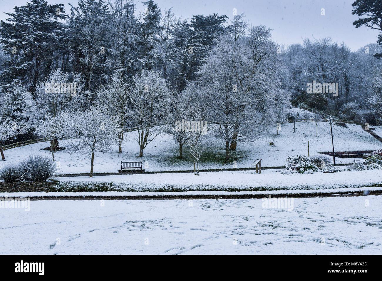 Trenance Gardens in Newquay Cornwall covered in snow. - Stock Image