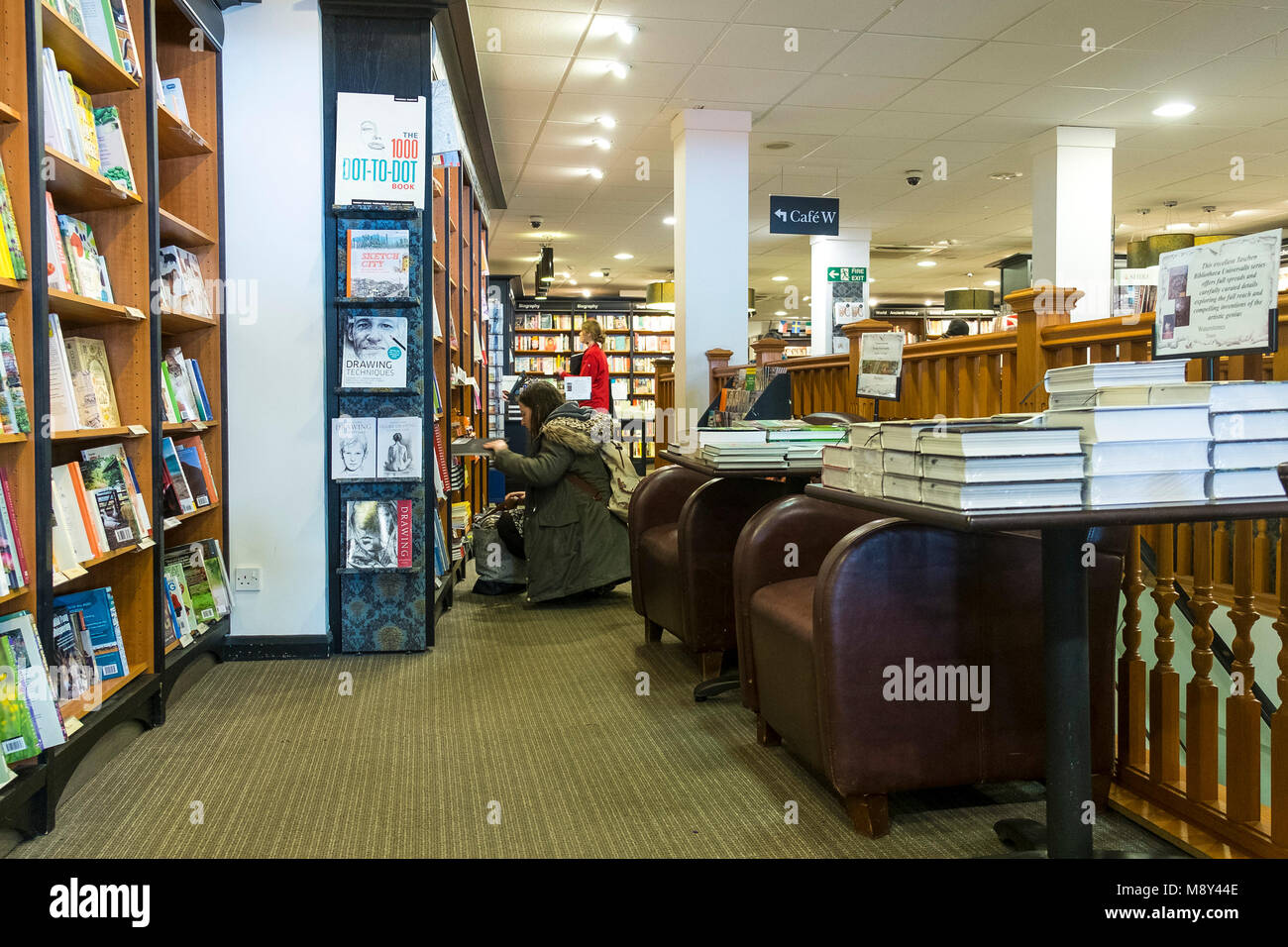 The interior of a Waterstones Bookshop in Truro Cornwall. - Stock Image